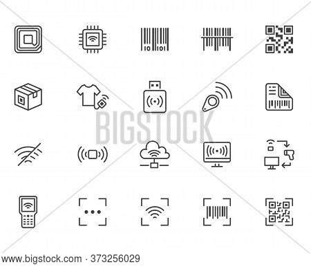 Rfid, Qr Code, Barcode Line Icon Set. Price Tag Scanner, Label Reader, Identification Microchip Vect