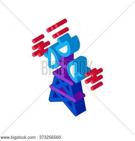 Air Navigation Radar Tower Icon Vector. Isometric Air Navigation Radar Tower Sign. Color Isolated Sy