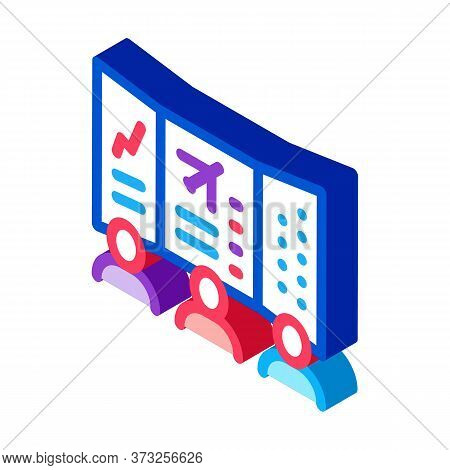 Air Navigation Dispatcher Display Icon Vector. Isometric Air Navigation Dispatcher Display Sign. Col