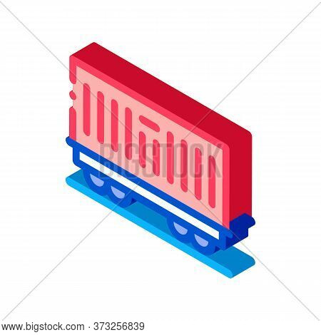 Carriage Container Transportation Icon Vector. Isometric Carriage Container Transportation Sign. Col