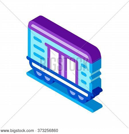 Freight Wagon Icon Vector. Isometric Freight Wagon Sign. Color Isolated Symbol Illustration