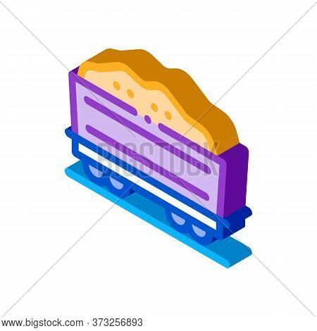 Railway Carriage Sand Transportation Icon Vector. Isometric Railway Carriage Sand Transportation Sig