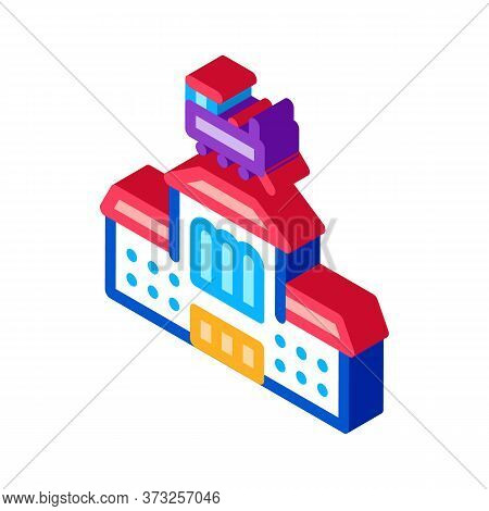 Railway Station Icon Vector. Isometric Railway Station Sign. Color Isolated Symbol Illustration