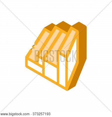 Wood Planks Different Sizes Icon Vector. Isometric Wood Planks Different Sizes Sign. Color Isolated