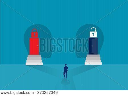 Businessman Looking Door Two Way Between Growth Mindset Or Fixed Mindset