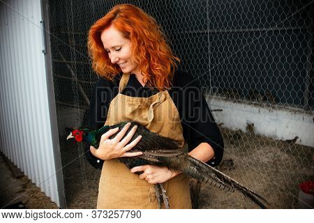 A Smiling Young Woman A Farmer In An Apron Holds In His Hands A Male Romanian Pheasant. Agriculture,