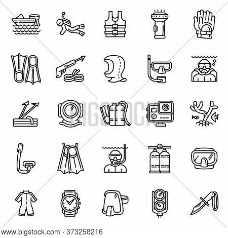 Snorkeling Equipment Icons Set. Outline Set Of Snorkeling Equipment Vector Icons For Web Design Isol