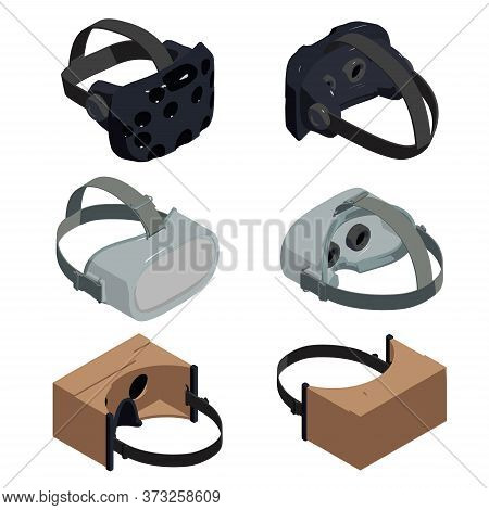 Game Goggles Icons Set. Isometric Set Of Game Goggles Vector Icons For Web Design Isolated On White