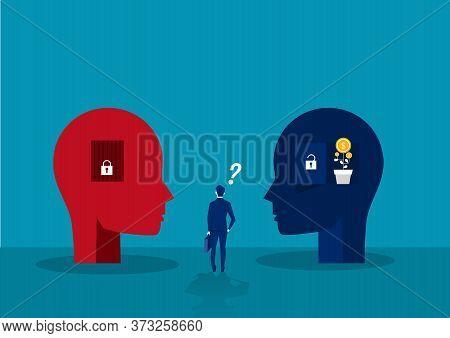 Businessman Choose Between Big Head Human Think Growth Mindset Different Fixed Mindset Concept
