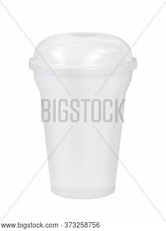 White Plastic Cup For Smoothie Or Frappe On White Background. 3d Illustration