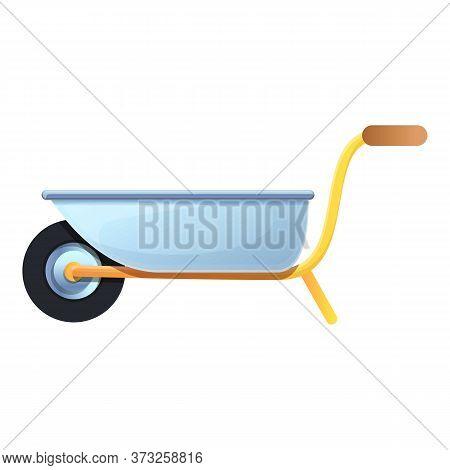 Steel Garden Wheelbarrow Icon. Cartoon Of Steel Garden Wheelbarrow Vector Icon For Web Design Isolat