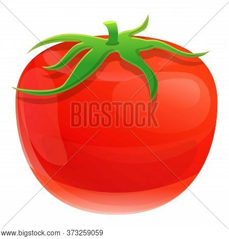 Red Eco Tomato Icon. Cartoon Of Red Eco Tomato Vector Icon For Web Design Isolated On White Backgrou