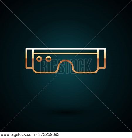 Gold Line Smart Glasses Mounted On Spectacles Icon Isolated On Dark Blue Background. Wearable Electr