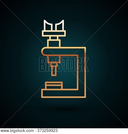 Gold Line Microscope Icon Isolated On Dark Blue Background. Chemistry, Pharmaceutical Instrument, Mi