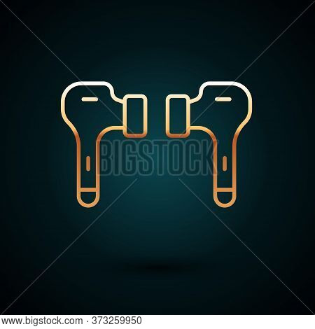 Gold Line Air Headphones Icon Icon Isolated On Dark Blue Background. Holder Wireless In Case Earphon