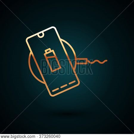 Gold Line Smartphone Charging On Wireless Charger Icon Isolated On Dark Blue Background. Charging Ba