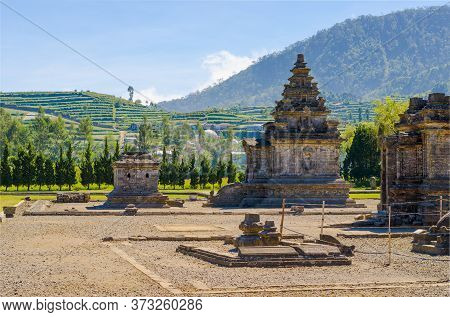 Old Hindu-buddhist Carved Stone Arjuna Temple In Dieng Plateau Archeological Site, In Java, Indonesi