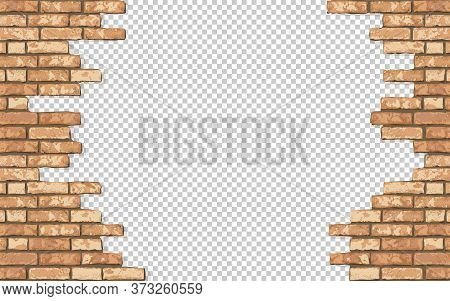 Realistic Vector Broken Brick Wall Horizontal Transparent Background. Hole In Flat Bown Wall Texture