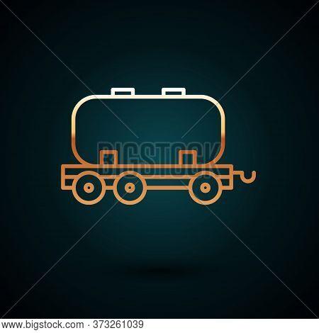 Gold Line Oil Railway Cistern Icon Isolated On Dark Blue Background. Train Oil Tank On Railway Car.