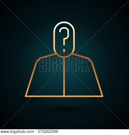 Gold Line Anonymous Man With Question Mark Icon Isolated On Dark Blue Background. Unknown User, Inco