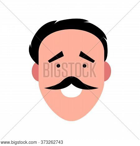 Vector Illustration Of A Smiling Man With Mustache. Portrait Of Handsome Cheerful Face. Avatar, Prof