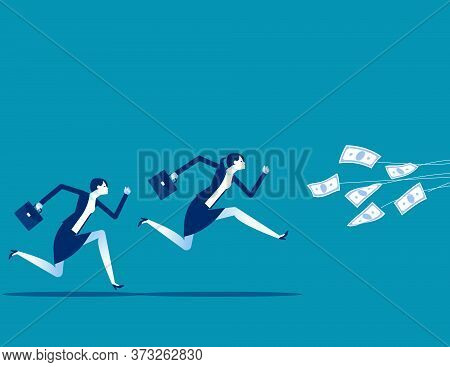 Greedy Business People Running For The Bait. Money Trap And Business Risks