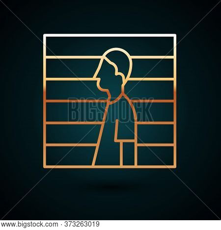 Gold Line Suspect Criminal Icon Isolated On Dark Blue Background. The Criminal In Prison, Suspected