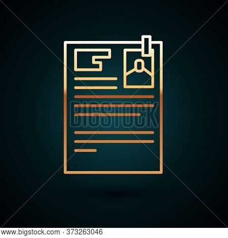 Gold Line Lawsuit Paper Icon Isolated On Dark Blue Background. Vector Illustration