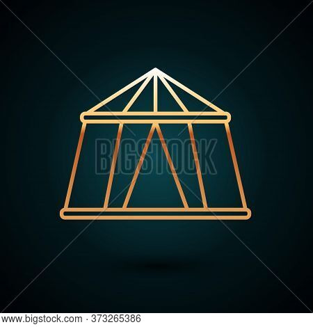 Gold Line Circus Tent Icon Isolated On Dark Blue Background. Carnival Camping Tent. Amusement Park.