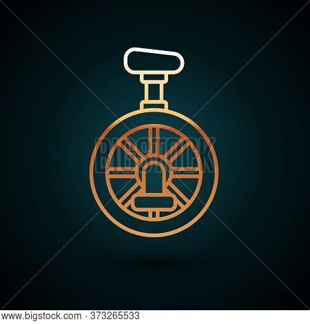 Gold Line Unicycle Or One Wheel Bicycle Icon Isolated On Dark Blue Background. Monowheel Bicycle. Ve