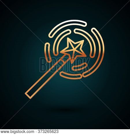 Gold Line Magic Wand Icon Isolated On Dark Blue Background. Star Shape Magic Accessory. Magical Powe