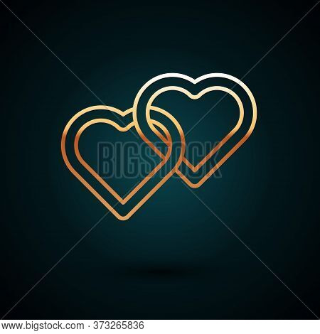 Gold Line Two Linked Hearts Icon Isolated On Dark Blue Background. Romantic Symbol Linked, Join, Pas