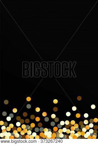 Gold Polka Vector Black Background. Christmas Round Banner. Yellow Glow Shiny Invitation. Circle Hap