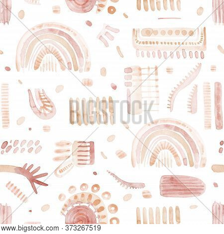 Seamless Abstract Watercolor Pattern. Set Of Elements On A White Background. Print For Textile, Desi