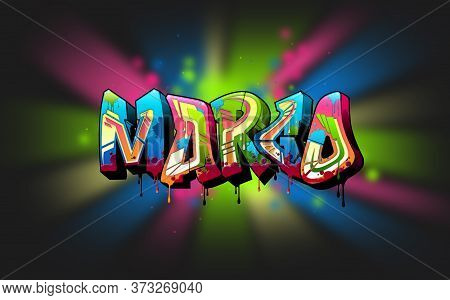 Margo. A Cool Graffiti Name Illustration Inspired By Graffiti And Street Art Culture. Vivid Vibrant
