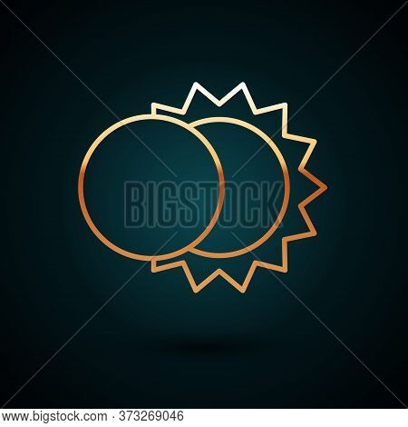Gold Line Eclipse Of The Sun Icon Isolated On Dark Blue Background. Total Sonar Eclipse. Vector Illu