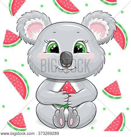 Cute Cartoon Koala With Watermelon. Summer Vector Illustration On The White Background With Dits And