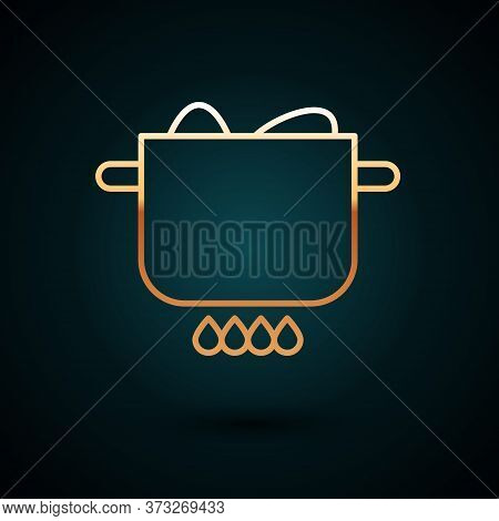 Gold Line Egg In Hot Pot Icon Isolated On Dark Blue Background. Boiled Egg. Happy Easter. Vector Ill