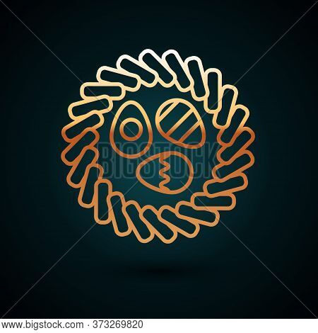 Gold Line Easter Egg In A Wicker Nest Icon Isolated On Dark Blue Background. Happy Easter. Vector Il