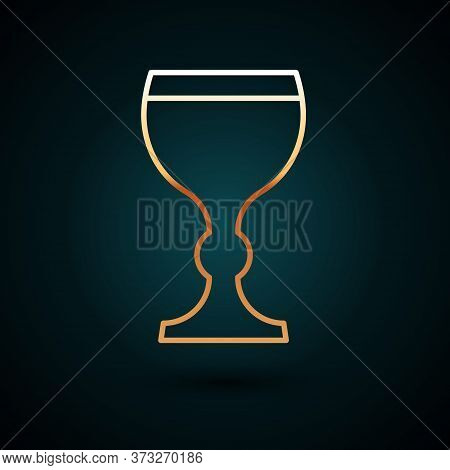 Gold Line Wine Glass Icon Isolated On Dark Blue Background. Wineglass Icon. Goblet Symbol. Glassware