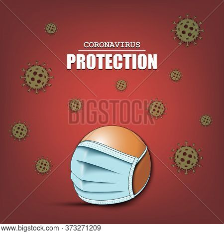 Ping-pong Ball With A Protection Mask And Cells Coronavirus Bacteriums. Stop Covid-19 Outbreak. Caut