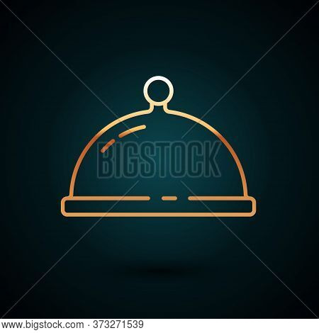 Gold Line Covered With A Tray Of Food Icon Isolated On Dark Blue Background. Tray And Lid. Restauran