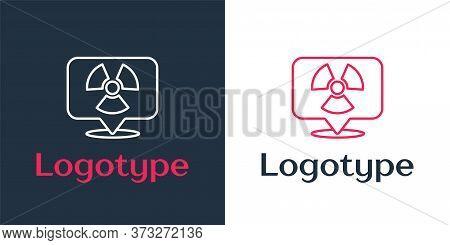 Logotype Line Radioactive In Location Icon Isolated On White Background. Radioactive Toxic Symbol. R
