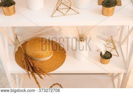 White Bookstand With White Brown Detals