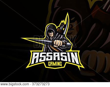 Assassin Mascot Sport Logo Design. Warrior Mascot Vector Illustration Logo. Killer Warrior Mascot, E