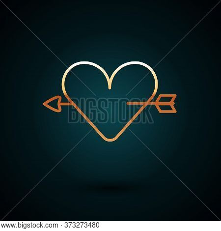Gold Line Amour Symbol With Heart And Arrow Icon Isolated On Dark Blue Background. Love Sign. Valent
