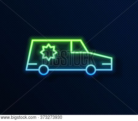 Glowing Neon Line Hearse Car Icon Isolated On Blue Background. Vector