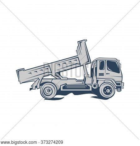 Dump Truck Silhouette Abstract Logo Template Vector Illustration.eps 10