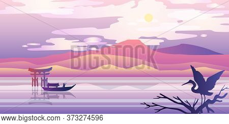 Horizontal Japanese Panorama With Mountains, Hills, Torii, River, Boat, Stork And Sun. Oriental Stoc
