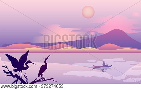 Oriental Horizontal Background With Hills, Mountain, Sun, Clouds, Branch, River, Boat, Stork. Japane